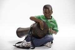 Student and Djembe Drum royalty free stock photos