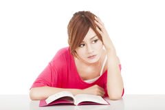Student Do not concentrate and thinking. Young student Do not concentrate and thinking Royalty Free Stock Photography
