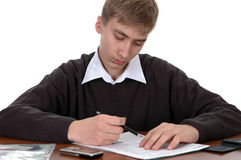 Student does homework stock photo
