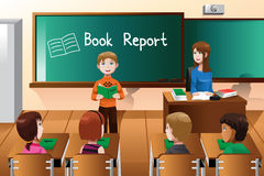 Student doing a book report Royalty Free Stock Image
