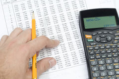 A student doing his math homework Stock Images
