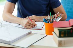 Student during doing homework. Horizontal view of student during doing homework stock photos