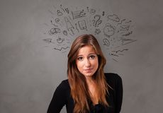 Student with doodle chat concept. Student thinking with speech bubble concept royalty free stock photos
