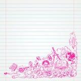 Student Doodle op papier, terug naar de Illustratie van Schoolsketchbook royalty-vrije illustratie