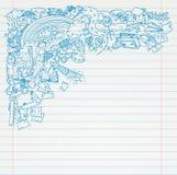 Student Doodle op papier, terug naar de Illustratie van Schoolsketchbook stock illustratie