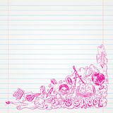 Student Doodle on paper, Back to School Sketchbook Illustration Royalty Free Stock Photo