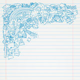 Student Doodle on paper, Back to School Sketchbook Illustration Royalty Free Stock Photography