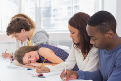 Student dozing during a class. At the college Royalty Free Stock Image