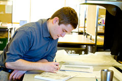 Student Drafting Architecture royalty-vrije stock foto