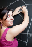 Student drawing on the chalkboard/blackboar Stock Images