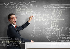 Student drawing science formulas Stock Images