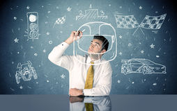 Student dreaming of  becoming racer concept Royalty Free Stock Image