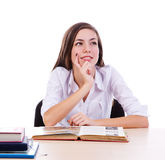 Student dreaming at homework Royalty Free Stock Images