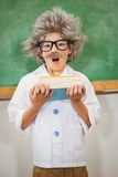Student dressed up as einstein looking surprised. At the elementary school Stock Photography