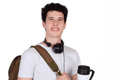 Student drinking coffee. Stock Photography