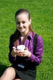 Student drinking tea at the park Stock Photography