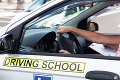 Student driver. Learning to drive a car. Driving school. Stock Image