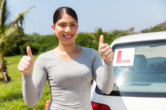 Student driver thumbs up Royalty Free Stock Image