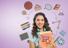 Student with education graphic drawings Stock Images