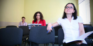 Student in een lezing Stock Afbeeldingen