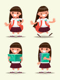 Student elementary school set. Schoolgirl welcomes, walking, rea Royalty Free Stock Photo