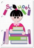Student en gewicht van boek stock illustratie