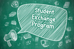 Student Exchange Program - Business Concept. Student Exchange Program on Speech Bubble. Doodle Illustration of Shouting Mouthpiece. Advertising Concept Royalty Free Stock Image