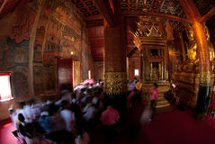 Student excursions in temple. Royalty Free Stock Photo
