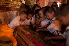 Student excursions in temple. Stock Photography