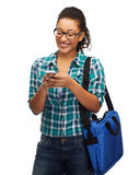 Student in eyeglasses with smartphone and bag Royalty Free Stock Photography