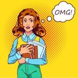 Student för examenpopkonst En härlig student oroas och uppehälleböcker Vektorillustration i komisk stil 10 eps Fotografering för Bildbyråer