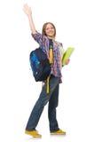 Student för ung kvinna med den isolerade ryggsäcken Royaltyfri Foto
