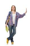 Student för ung kvinna med den isolerade ryggsäcken Royaltyfri Bild