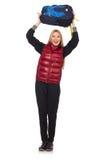Student för ung kvinna med den isolerade ryggsäcken Royaltyfria Foton