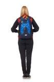 Student för ung kvinna med den isolerade ryggsäcken Arkivfoton