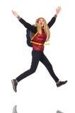 Student för ung kvinna med den isolerade ryggsäcken Royaltyfri Fotografi