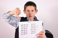 Student with F grade Stock Photo