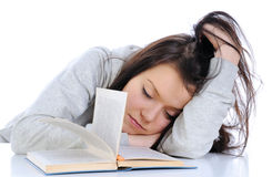 Student fell asleep during studying Stock Photography