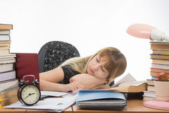 Student fell asleep at table getting ready to pass the graduation project. Student fell asleep at the table getting ready to pass the graduation project Royalty Free Stock Image
