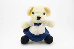 Student female bear crochet doll isolated Stock Photography