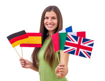Student Female with International Flags Royalty Free Stock Photography