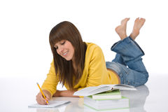 Student - female teenager with book Royalty Free Stock Photos