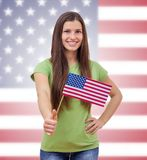 Student Female With United State's Flag Royalty Free Stock Image