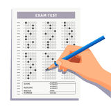 Student filling out answers to exam test Royalty Free Stock Photo