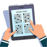 Student filling out answers to exam test. Answer tapping on a modern tablet computer screen. Education technology concept. Colorful flat style cartoon vector Stock Images