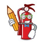 Student fire extinguisher character cartoon. Vector illustration Royalty Free Stock Photography