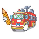 Student fire truck character cartoon. Vector illustration Stock Photos