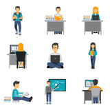 Student Flat Icons Set Stock Photos