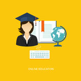 Student flat illustration with icons Stock Photo