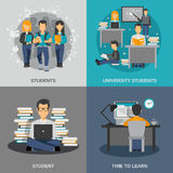 Student Flat Set Royalty Free Stock Image
